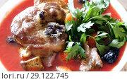 Купить «Appetizing thick tomato soup with mutton, vegetables and greens», видеоролик № 29122745, снято 28 августа 2018 г. (c) Яков Филимонов / Фотобанк Лори