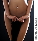 Купить «Crop photo of perfect female body. Navel piercing», фото № 29123381, снято 3 июля 2017 г. (c) katalinks / Фотобанк Лори