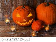 Купить «carved halloween jack-o-lantern pumpkin», фото № 29124053, снято 18 сентября 2017 г. (c) Syda Productions / Фотобанк Лори