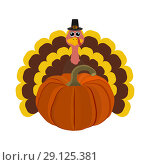 Funny peligrimm with a pumpkin for Thanksgiving. Стоковая иллюстрация, иллюстратор Мастепанов Павел / Фотобанк Лори