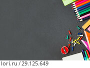 Купить «School supplies on white background», фото № 29125649, снято 13 февраля 2017 г. (c) Иван Карпов / Фотобанк Лори