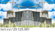 Купить «Строительство нового жилого городского района», фото № 29125981, снято 24 сентября 2018 г. (c) Сергеев Валерий / Фотобанк Лори