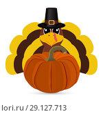 Купить «Funny turkey pilgrim with a pumpkin for Thanksgiving», иллюстрация № 29127713 (c) Мастепанов Павел / Фотобанк Лори