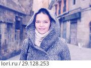 Купить «portrait of young female in hood», фото № 29128253, снято 11 ноября 2017 г. (c) Яков Филимонов / Фотобанк Лори