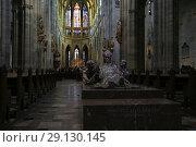 Купить «Prague, Czech Republic, September 20, 2018. View inside the Gothic Catholic Cathedral of St. Vitus in Prague Castle», фото № 29130145, снято 20 сентября 2018 г. (c) Яна Королёва / Фотобанк Лори