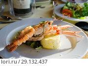 Блюдо из лобстера с овощами на белой тарелке. Стоковое фото, фотограф Галина Савина / Фотобанк Лори
