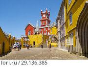 Купить «The arches terrace, chapel and clock tower of Pena Palace. Sintra. Portugal», фото № 29136385, снято 3 июля 2016 г. (c) Serg Zastavkin / Фотобанк Лори