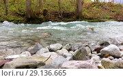 Купить «Autumn view of mountain river», видеоролик № 29136665, снято 19 сентября 2018 г. (c) Сергей Петерман / Фотобанк Лори