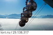 Купить «Aerial city view of Grenoble with cable car, France», фото № 29138317, снято 7 декабря 2017 г. (c) Яков Филимонов / Фотобанк Лори