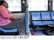 Купить «Florida, Miami Beach, bus, passenger rider, Black, woman, Miami-Dade Metrobus, public transportation,», фото № 29140097, снято 19 января 2018 г. (c) age Fotostock / Фотобанк Лори