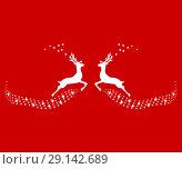 Купить «Two reindeer leap towards each other», иллюстрация № 29142689 (c) Мастепанов Павел / Фотобанк Лори
