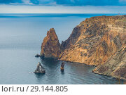 Купить «Beautiful view from above to Cape Fiolent and the Black Sea in Russia, Crimea», фото № 29144805, снято 9 ноября 2017 г. (c) Константин Лабунский / Фотобанк Лори