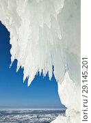 Купить «Lake Baikal. Thick ice build-ups and a lot of large icicles on the coastal cliffs of Olkhon Island on a frosty sunny day. Natural winter background. Unusual landscape», фото № 29145201, снято 6 марта 2011 г. (c) Виктория Катьянова / Фотобанк Лори