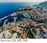 Купить «Mountains in Monaco Monte-Carlo city riviera Drone summer photo Air 360 vr virtual reality drone panorama», фото № 29145749, снято 9 сентября 2018 г. (c) Aleksejs Bergmanis / Фотобанк Лори