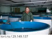 Купить «Woman watching fish in pool on farm», фото № 29149137, снято 4 февраля 2018 г. (c) Яков Филимонов / Фотобанк Лори