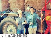 Young happy farmers taking a pause. Стоковое фото, фотограф Яков Филимонов / Фотобанк Лори