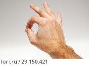Купить «Male hand showing Ok acceptance gesture», фото № 29150421, снято 21 февраля 2017 г. (c) EugeneSergeev / Фотобанк Лори