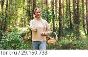 Купить «woman with mushrooms calling on cellphone in woods», видеоролик № 29150733, снято 24 сентября 2018 г. (c) Syda Productions / Фотобанк Лори