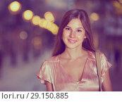 Купить «close-up portrait of smiling slim adult girl in sexy evening apparel», фото № 29150885, снято 26 августа 2017 г. (c) Яков Филимонов / Фотобанк Лори