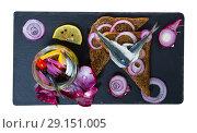 Купить «Top view of homemade pickled anchovies», фото № 29151005, снято 23 августа 2018 г. (c) Яков Филимонов / Фотобанк Лори