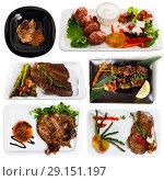 Купить «Set of beef and pork dishes», фото № 29151197, снято 17 июля 2019 г. (c) Яков Филимонов / Фотобанк Лори