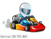 Купить «Cartoon kart racer isolated on white background», иллюстрация № 29151461 (c) Александр Володин / Фотобанк Лори