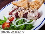 Купить «Tuna fillet Tataki with toasted bread», фото № 29162477, снято 21 сентября 2019 г. (c) Яков Филимонов / Фотобанк Лори