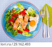 Low-calorie breakfast with roasted trout. Стоковое фото, фотограф Яков Филимонов / Фотобанк Лори