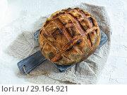 Купить «Loaf of bread on sourdough from wheat and rye flour», фото № 29164921, снято 16 сентября 2018 г. (c) Марина Сапрунова / Фотобанк Лори