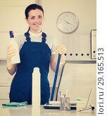 Купить «Young and smiling woman cleaning room», фото № 29165513, снято 2 июня 2017 г. (c) Яков Филимонов / Фотобанк Лори