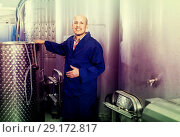 Купить «mature man working in wine fermentation section», фото № 29172817, снято 15 октября 2018 г. (c) Яков Филимонов / Фотобанк Лори