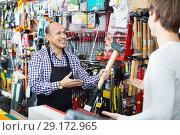Купить «Ordinary positive smiling customer and friendly seller choosing hammer», фото № 29172965, снято 19 ноября 2018 г. (c) Яков Филимонов / Фотобанк Лори