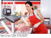 Купить «Smiling female seller weighing sausages in shop», фото № 29173037, снято 22 июня 2018 г. (c) Яков Филимонов / Фотобанк Лори