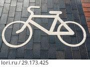 """Купить «Знак """"Велосипедная дорожка"""" на мостовой. Калининград», эксклюзивное фото № 29173425, снято 10 июля 2018 г. (c) Александр Щепин / Фотобанк Лори"""