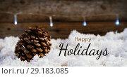 Купить «Happy Holidays text and Christmas decorations 4k», видеоролик № 29183085, снято 22 мая 2019 г. (c) Wavebreak Media / Фотобанк Лори