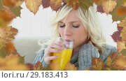 Купить «Frame of leaves and woman suffering from allergy sneezing 4k», видеоролик № 29183413, снято 22 мая 2019 г. (c) Wavebreak Media / Фотобанк Лори