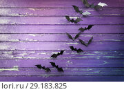 Купить «black bats over ultra violet shabby boards», фото № 29183825, снято 6 июля 2017 г. (c) Syda Productions / Фотобанк Лори