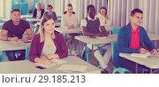 Купить «Students at extension courses», фото № 29185213, снято 8 мая 2018 г. (c) Яков Филимонов / Фотобанк Лори