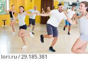 Купить «Young men and women dancing swing», фото № 29185381, снято 21 июня 2017 г. (c) Яков Филимонов / Фотобанк Лори