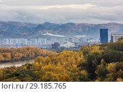 Купить «Красноярск, городской пейзаж», фото № 29185765, снято 27 марта 2019 г. (c) Владимир Пойлов / Фотобанк Лори