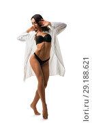 Купить «Slim brunette in black lingerie isolated shot», фото № 29188621, снято 19 сентября 2018 г. (c) Гурьянов Андрей / Фотобанк Лори