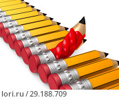 Купить «unique red wooden pencil with eraser standing out from the orange crowd on white background. Isolated 3D illustration», иллюстрация № 29188709 (c) Ильин Сергей / Фотобанк Лори