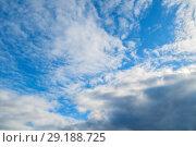Купить «Sky landscape of blue picturesque sky. Blue sky background with clouds and sunlight», фото № 29188725, снято 25 апреля 2018 г. (c) Зезелина Марина / Фотобанк Лори