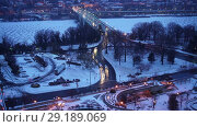 Купить «Time lapse of Key bridge in Washington DC at winter dawn», видеоролик № 29189069, снято 5 октября 2018 г. (c) Sergey Borisov / Фотобанк Лори