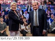 Marine Le Pen, Pierluigi Bersani during 'Quarta Repubblica' tv show, Rome, Italy 08/10/2018. Редакционное фото, фотограф Alessandro Serrano' / AGF / age Fotostock / Фотобанк Лори