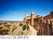 Купить «Western walls of Cite de Carcassonne in France», фото № 29200413, снято 27 июля 2017 г. (c) Сергей Новиков / Фотобанк Лори
