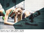 Купить «Muscular couple doing planking exercises», фото № 29201329, снято 12 декабря 2018 г. (c) Wavebreak Media / Фотобанк Лори