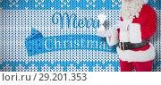 Купить «Composite image of smiling santa claus holding hourglass», фото № 29201353, снято 15 октября 2018 г. (c) Wavebreak Media / Фотобанк Лори