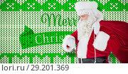 Купить «Composite image of festive santa claus checking time», фото № 29201369, снято 23 октября 2018 г. (c) Wavebreak Media / Фотобанк Лори