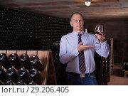 Купить «Winemaker inviting to tasting red wine», фото № 29206405, снято 22 января 2018 г. (c) Яков Филимонов / Фотобанк Лори